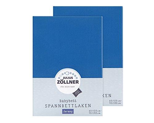 Julius Zöllner 8380313300 - Sábana Bajera Ajustable para Cuna (2 Unidades, 60 x 120 cm y 70 x 140 cm), Color Azul