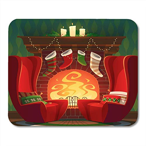 Whecom Durable Mauspad Gaming Room Red Cartoon Fireplace Christmas Santa Chair Gaming Mauspad for Notebooks,Desktop Computers Mouse Mats, Office Supplies