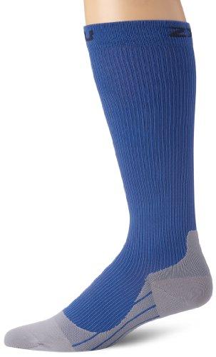 2XU Herren Kompressionssocke Mens Compression Race Socks, Blue/Grey, M, MA1957e