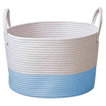 Flyinghedwig Storage Basket Cotton Rope Laundry Basket Woven Laundry Hamper Household Nursery Hamper Woven Clothing Storage Bag with Handles for Nursery Kids Room Toy Storage S-White+Blue