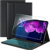CACOE Teclado compatible con Lenovo Tab P11 TB-J606 con cristal blindado, [QWERTZ alemán], funda con teclado retroiluminado extraíble compatible con Lenovo Tab P11 TB-J606, color negro