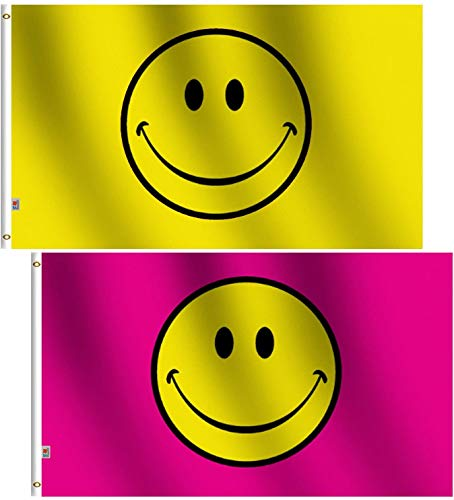 rhungift 2Pack /Set Smiley Face Yellow Pink Flag 3x5 Ft, Moderate-Outdoor Both Sides 100D Polyester,Canvas Header and Double Stitched - Brass Grommets for Easy Display,3' x 5' Happy Face Flags