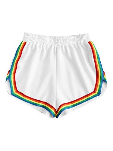 Women's Retro Rainbow 80s Fitness Shorts, XS to XL