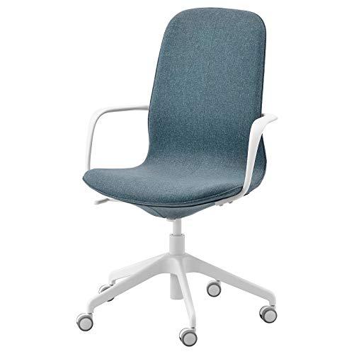 IKEA LÅNGFJÄLL Office Chair with armrests, Gunnared Blue/White