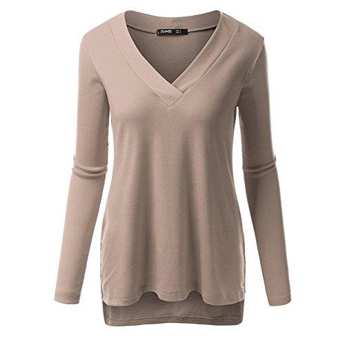 Blusa Suelta Color sólido Cuello V Camisa De Manga Larga Camiseta Mujer Camel M