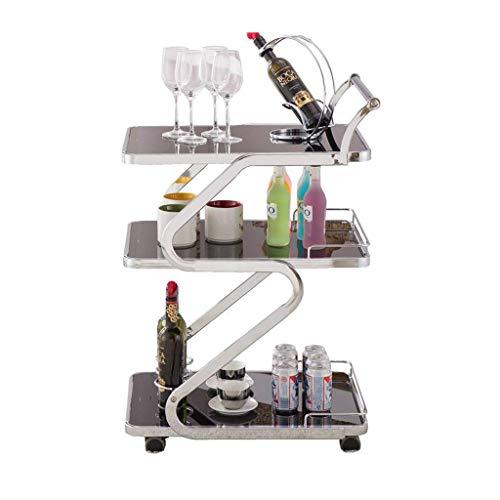ZGQA-GQA Carrito de servicio de 3 capas de acero inoxidable para el hogar, restaurante, hotel, vino, agua, fruta, multifuncional (plata, 890 x 450 x 610 mm)