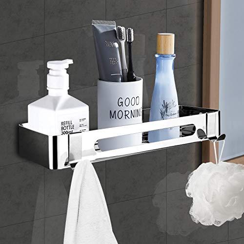 ZOYJITU Duschablage Ohne Bohren Duschkorb Selbstklebend Duschregal aus Edelstahl für Badezimmer,mit 2 Haken Badregal Ablage Dusche für Bad 1 Stück (Silver)