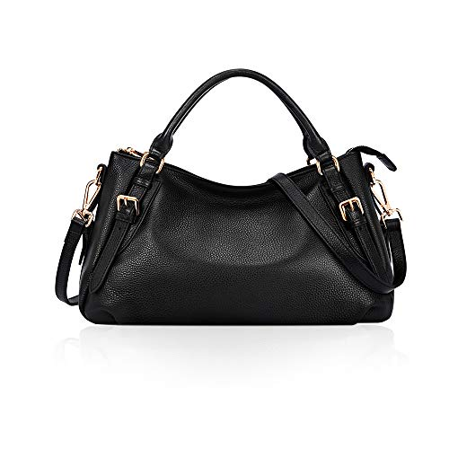 High Quality--Made of vintage waxed cowhide leather; The brass tone hardware is high quality; Top zipper closure and handles; Super soft leather with a comfortable feeling and soft fabric lining Well Construction--It has 2 open pockets and 1 zipper p...