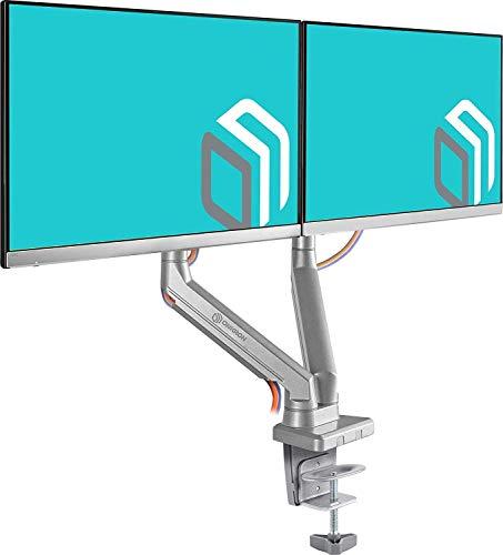 """ONKRON Monitor-Tischhalterung für Zwei 17\"""" – 32\"""" Zoll Monitore Halterung Höhenverstellbar Schwenkbar Neigbar VESA 75x75 bis 100x100 mm MS160 Silber"""