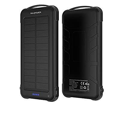 Solar Charger Power Bank 10000mAh Lightweight and Portable Chargers Dual Input(Solar and Outlet) Shockproof Battery Pack with Flashlight Compatible Cellphone Android iPhone and Tablet