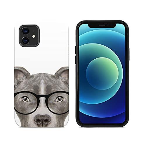 Funda de madera personalizada para teléfono compatible con iPhone 12 o 12 Pro, funda protectora a prueba de golpes para teléfono celular para hombres y mujeres (Pit Bull con gafas)