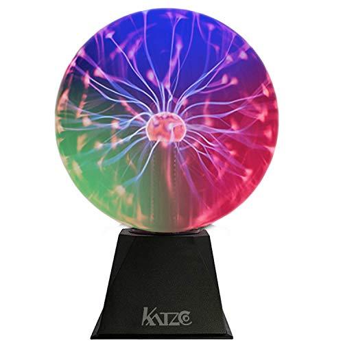 Katzco - Bola de plasma colorida de 8 pulgadas de electricidad estática en un globo de vidrio presurizado al aspiradora, multicolor, nebulosa, rayo, plug-in para fiestas,...