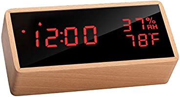 Meross Wooden Digital Alarm Clock for Bedrooms, Real Wood, Time Temperature Humidity, 3 Sets of Alarms, Adjustable...