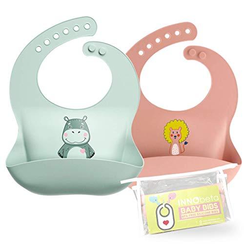 2Pac Baby Lätzchen Silikon Wasserdichte, Silikon-lätzchen Babylätzchen mit Auffangschale Unisex für Entwöhnen BPA Frei,Abwaschbar Verstellbare Einfache Reinigung Weihnachten Babyparty Geschenk