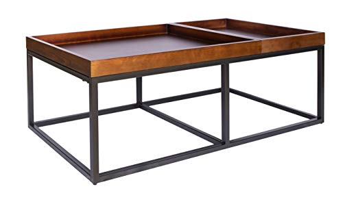 Amazon Brand  Rivet Modern Industrial Coffee Table with Metal Base and Trays, 42.1