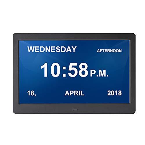 XASY Metalen digitale kalender, dagklok, groot lettertype met geen afkortingen dag en maand, uitgerust – senioren, slechtheid en Alzheimer patiënten 10 inch digitale kalender elektronische