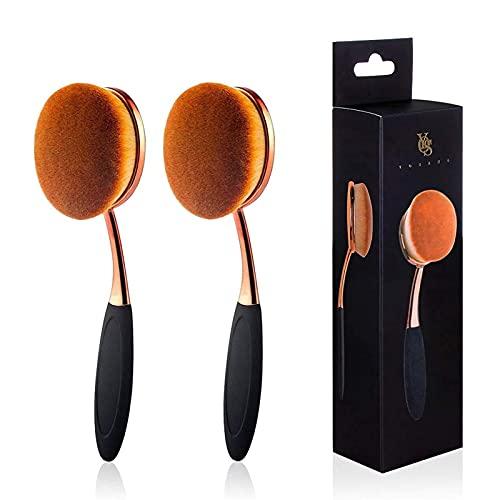 Yoseng Brocha ovalada para base de dientes grandes brochas de maquillaje de aplicación rápida y impecable, base líquida en polvo (dos paquetes)