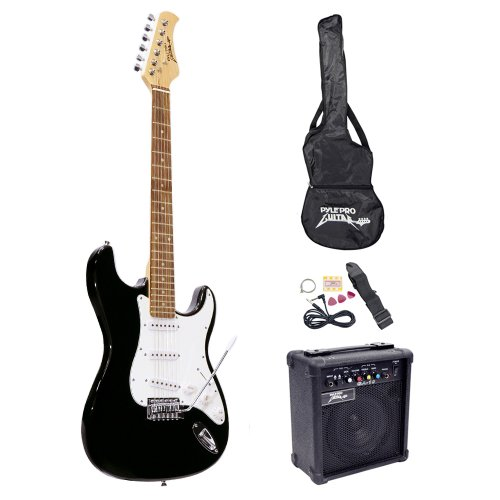 PylePro Full Size Electric Guitar Package w/ Amp, Guitar Bundle, Case & Accessories, Electric Guitar Bundle, Beginner Starter Package, Strap, Tuner, Pick, Ready to Use Out of the Box, Black (PEGKT15B)