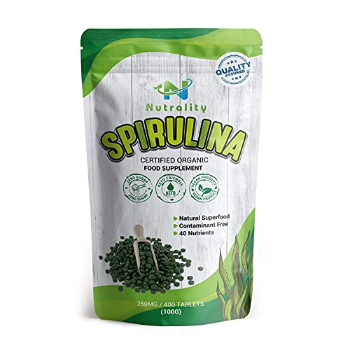 Nutrality Organic Contaminant-Free Spirulina Tablets from Taiwan, 250mg, 400 Count, 80 Days Supply, Pure Superfood with Amino Acids, Antioxidants, and Natural Vitamins
