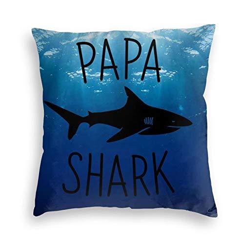 iqingzhongbai Cool Papa Shark-1unisex Fashional Graphic Printing Bed Pillowcase Throw Sofa Swan Velvet Pillow Covers Univeral Reuseable Bedroom Pillow(16'X16',Black)