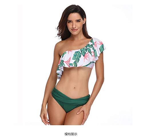 SWNN Traje de baño para mujer, retro, sexy, con un solo hombro, con volantes, parte inferior descarada, Tankini verde, elástico rápido (color: verde, talla: S)