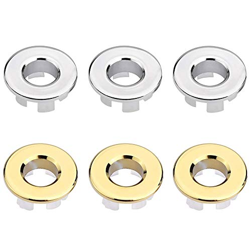 Overflow Hole, 6 Pieces Sink Hole Round, Sink Overflow Hole, Overflow Hole Cover, Wash Basin Overflow Cover, for Replace Overflow Drain Cover of Bathroom Kitchen Washbasin Bathtub (Gold + Silver)