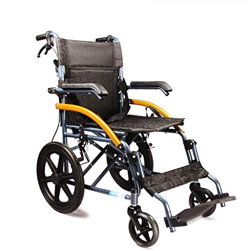 RUIVE Klappbarer Rollstuhl mit Handbremsen, leichtem Transit-Reiserollstuhl aus Aluminium, Vollreifen und atmungsaktivem Stoff-Rollstuhl