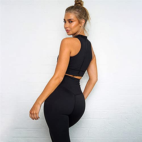 ML S HJDY Deportes Traje Gimnasio Gimnasio Ropa Chándal Mujer Sexy Ejecutando Yoga Conjunto Sostén Leggings Medias Fluorescenc Top + Pantalones 2 Pieza,Negro,S