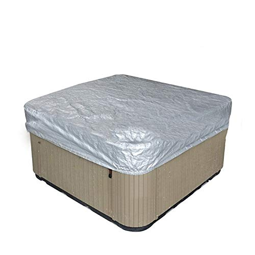 Cheng Yi Outdoor Large Square Hot Tub Cover,Pool Spa Square Hot Tub Bath Cover Cap,UV Resistant 210D Swim SPA Cover Protector,Durable All Season Protection (91L x 91W x 11.8H Inch, Silver)