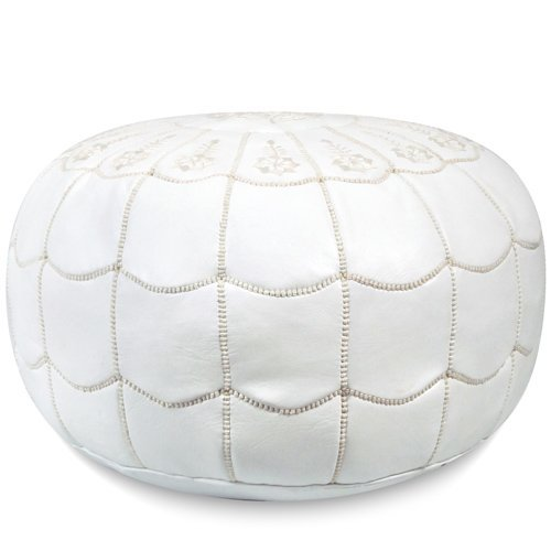 Ikram Design Moroccan Leather Pouf with Arch Design, 22-Inch by 14-Inch, White by IKRAM DESIGN
