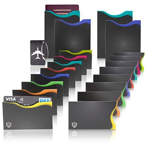 Amazy RFID & NFC Schutzhüllen (20 Stück) inkl. Kofferanhänger – TÜV-geprüft – 100% Schutz vor Identitäts- und Datendiebstahl – Extra-robuste Hüllen für Kreditkarten, EC-Karten, Ausweise und Reisepass
