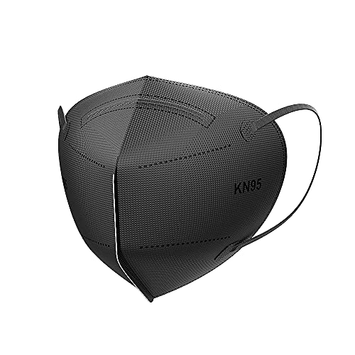HIWUP 50Pcs Black KN95 Face Mask Individually Packaged 5-Ply Disposable Face Masks Filter Efficiency≥95% Protection Against PM2.5, Fire Smoke, Dust Cup Dust Mask