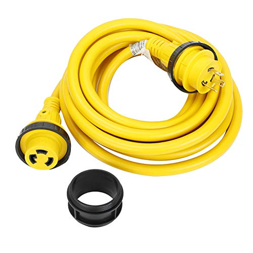 25ft 30Amp 125V LED Electric Extension RV Power Wire Cord Marine Shore Boat L5-30 Yellow 25 Feet Heavy Duty Electrical Power Cable, NEMA L5-30P to NEMA L5-30R