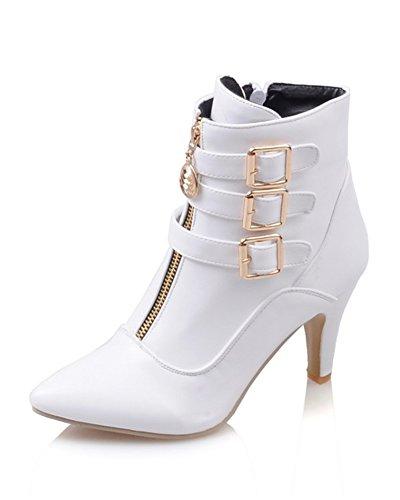 Minetom Damen Herbst Winter Stiefel Winterstiefel Stiefeletten Warm Schuhe mit Hohen Absätzen Weiß EU 39