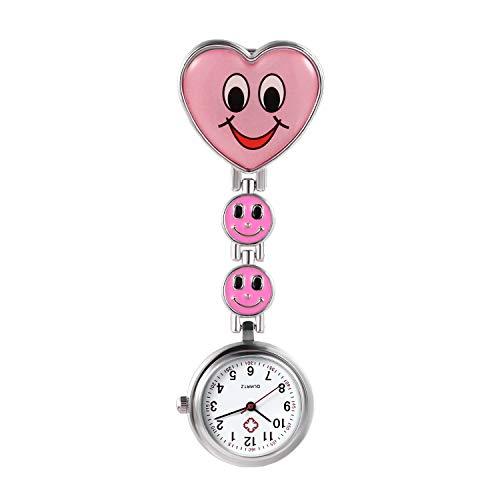 Avaner Schwesteruhr Analog Quarzwerk Pflegeruhr Ansteckuhr mit Clip Hanging Medical Taschenuhr FOB-Uhr Smiley-Herzform für Damen Krankenschwester Arzt Doktor AN019-13