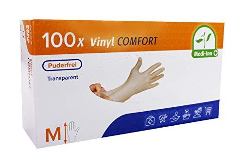 "Medi-Inn \""Medi-Inn®\"" Handschuhe, Vinyl puderfrei \""Comfort\"" Größe M 93022 Einweghandschuhe Hygiene Vinylhandschuhe, 100 Stück"