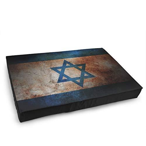 Jacklee Hond Kat Bed met Orthopedisch Schuim en Wasbaar Anti-slip Cover, Vintage Joodse Vlag