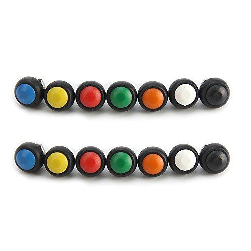 Preisvergleich Produktbild 12mm Druckknopf-wasserdichter sperriger augenblicklicher AN / AUS Schalter Satz von 14 Grün,  weiß,  rot,  schwarz,  gelb,  blau,  orange