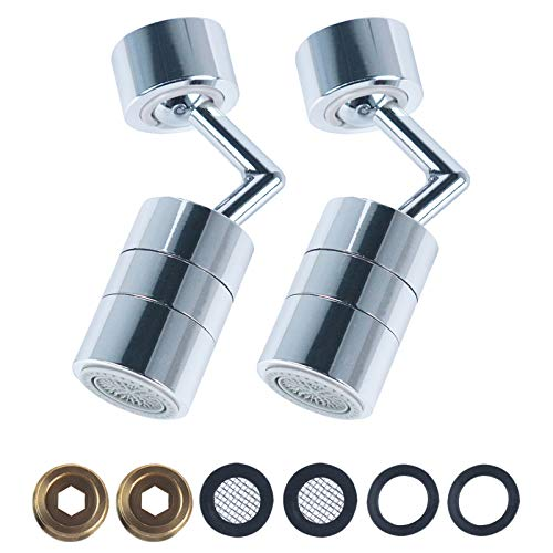 720 Degree Swivel Sink Faucet Aerator,Water Saving Dual Function Water Filters,Sprayer Attachment Anti-Splash Faucets Adapters with Gasket,Replacement Part 55/64 Inch-27UNS Female Thread-Chrome-Swivel