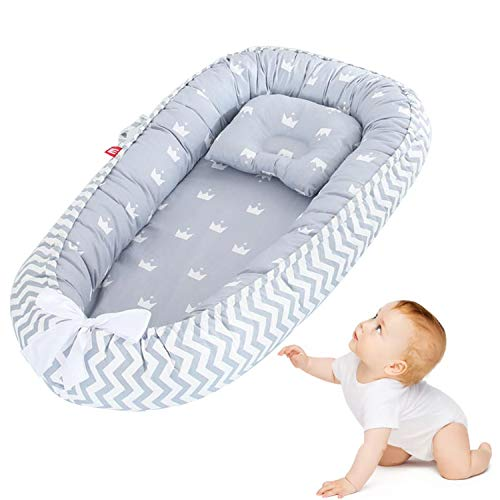 Newborn Baby Lounger with Pillow, Portable Baby Nest Soft Breathable Baby Mattress Bed Washable Baby Bassinet for Bed/Lounger/Nest/Pod/Cot Bed/Sleeping