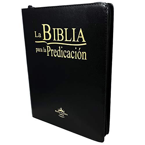 La Biblia para la Predicación RVR60 - Letra Grande, imitación cuero negro, indice, ziper, canto dorado (Spanish Edition)