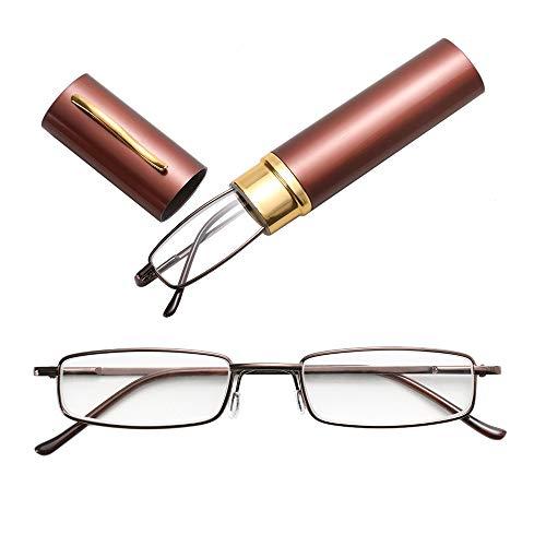 JSANSUI voordelige leesbril leesbril, metalen veer voet draagbare Presbyopie bril met buis etui (3,50 D)