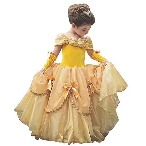 ベル ドレス 子供 美女と野獣風 プリンセス ドレス 女の子 クリスマス 衣装 キッズ ハロウィン コスプレ 仮装 発表会 誕生日 プリンセスドレス お姫様 ロングドレス (イエロー,150cm)