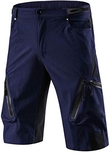 JWCN Mountainbike-Shorts Loose Fit Radfahren Baggy Pants mit leichten Reißverschlusstaschen Wasserabweisende MTB-Shorts Hohe Dichte für Frauen Männer-Blau_XXL Uptodate