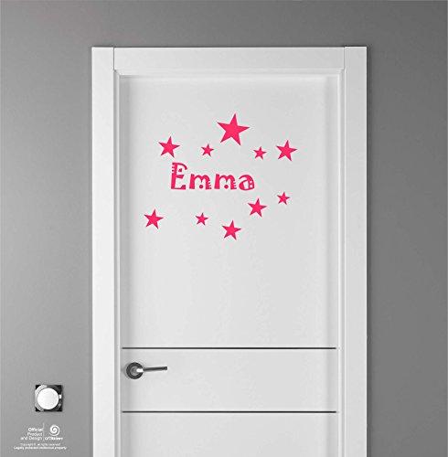 Artstickers Adhesivo Infantil para decoración de Muebles, Puertas, Paredes.Nombre: Emma, en Color Rosa Nombre de 20cm + Kit de 10 Estrellas para Libre colocación.