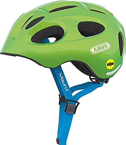 ABUS Kinderhelm Youn-I MIPS - Fahrradhelm mit Licht, Reflektoren und Aufprallschutz (MIPS) für Kinder - für Mädchen und Jungen - Grün (funkelnd), Größe M