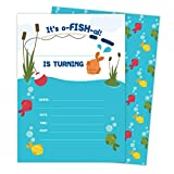 Fishing 2 Invitations (25 ct.) Invite Cards Happy Birthday Invitations Invite Cards With Envelopes and Seal Stickers Vinyl Girls Boys Kids Party (25ct)