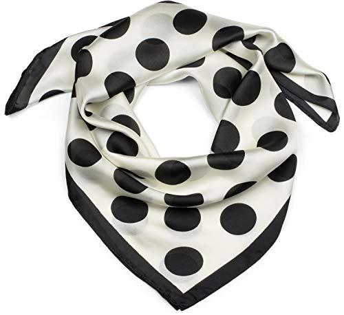styleBREAKER Dames vierkant sjaal met stippenpatroon en rand, multifunctionele sjaal, bandana 01016194