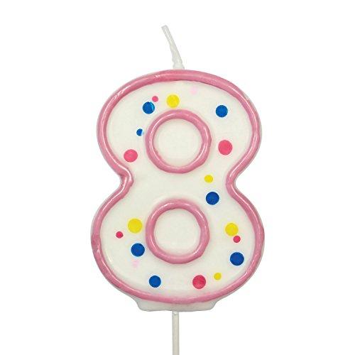 PME CA088 Kerze, Rosa, Nummer 8, Kunststoff, Pink, 4 x 1 x 6.3 cm