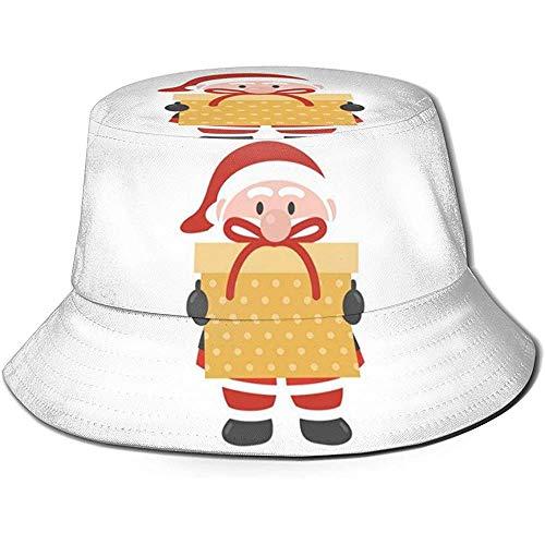 Not Applicable Fishing Sun Hat,Navidad Papá Noel con Sombrero De Pescador Negro De Regalo De Cerveza Dorada, Gorras De Cubo De Impresión Personalizada para Adultos para Acampar Vacaciones En La Playa